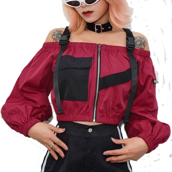 Punk Style T Shirt Women Long Sleeve Wine Red Off Shoulder Bandage Zipper Shirts Autumn Loose Short Tee Tops