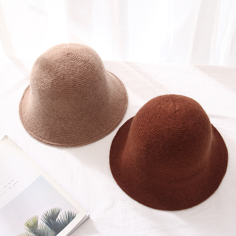 Pure wool bucket cap hat autumn and winter new solid color big bow basin cap Korean hat female fisherman hat