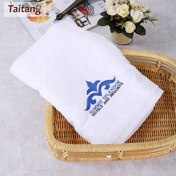 Customize Embroidery Logo Hotel White Bath Towels 100% Cotton