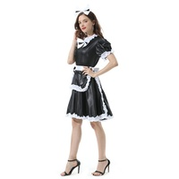 Sissy Girl Maid Lovely Sexy Fashion Black Dress Crossdress Women French Maid Costume Sweet Satin Halloween Fancy Dress