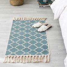 Винтажный богемный хлопковый льняной дверной коврик ручной работы с кисточками, постельный боковой коврик, геометрический ковер для гости...(Китай)
