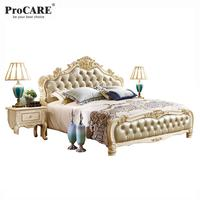 luxury antique French rococo style European Solid wood carved bedroom furniture king size royal bed