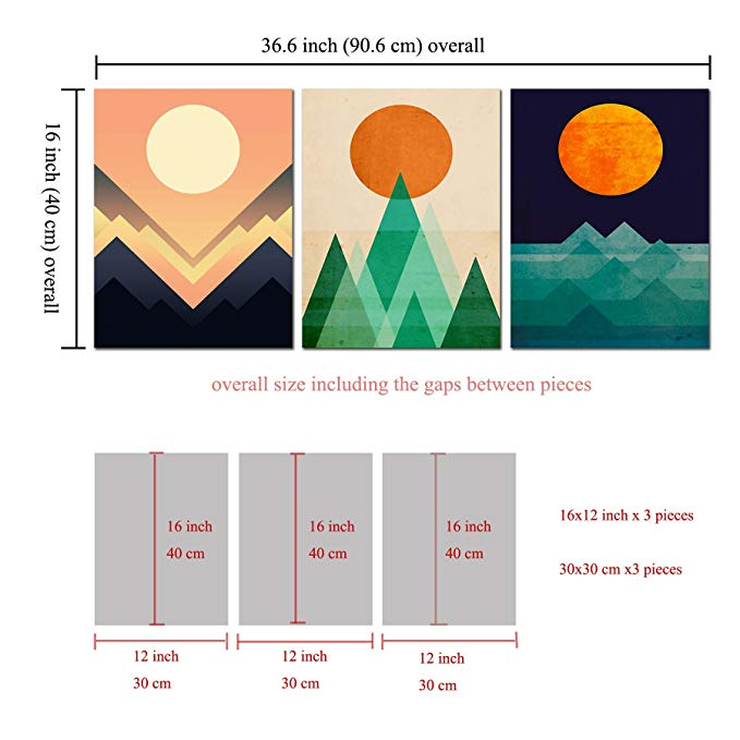 3 board abstract sunrise sunset canvas wall art painting abstract geometric hanging art work canvas paintings