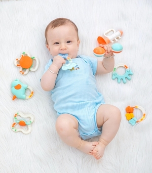 8 Pcs Hot Selling Alilo Chewable Teether for Kids 0-6 Months Bath Handed Funny Set Silicone 2020 Activity Baby Teething Toys