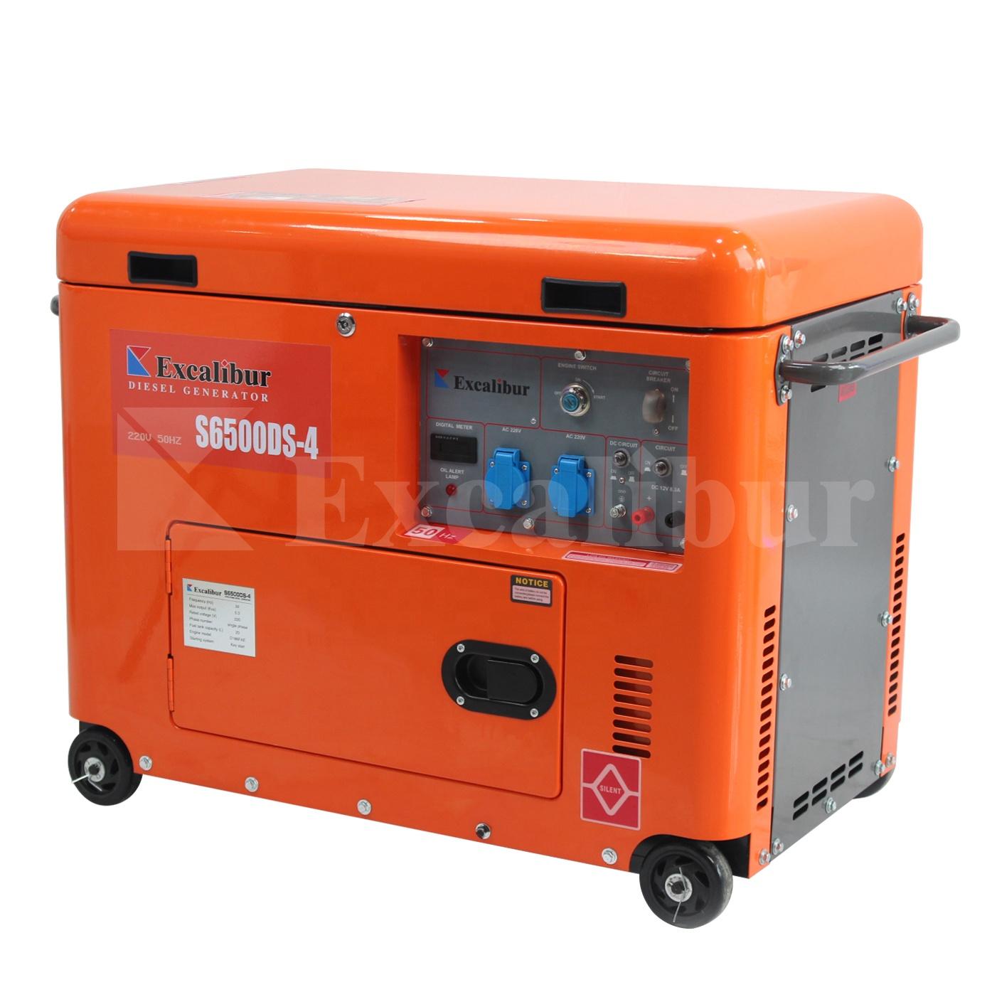 Excalibur silent diesel generator 6.5kva diesel generator home portable generator silent