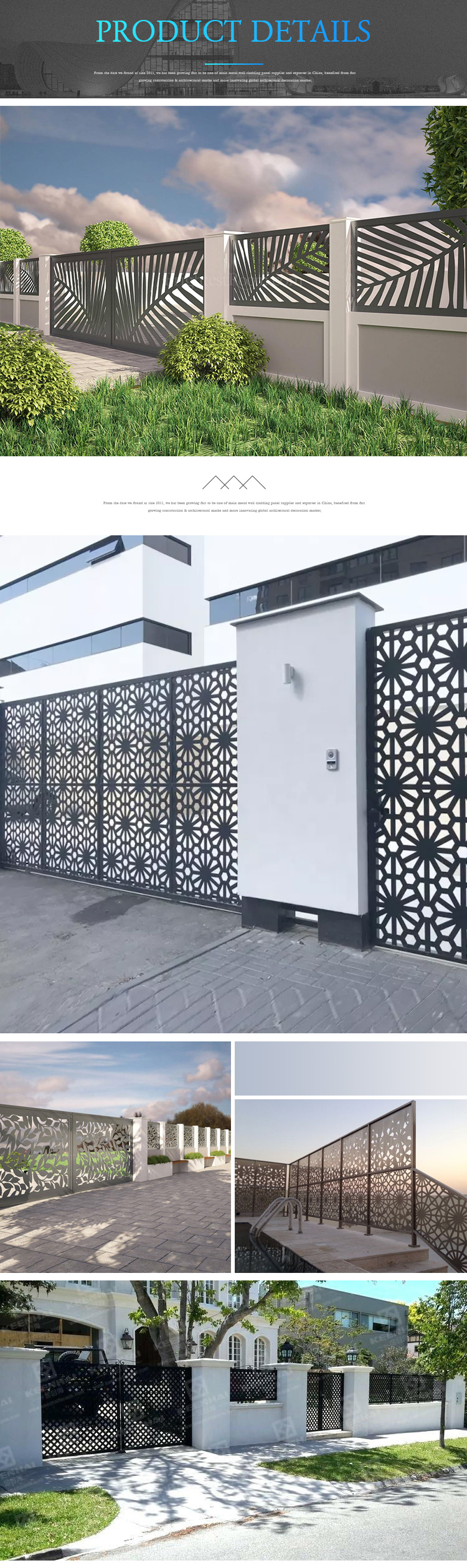 Laser Cut Decorative Aluminum Fencing Metal Fence Panels