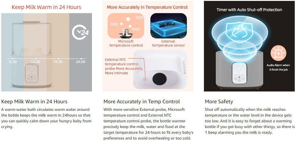 Multi-function Digital Baby Bottle Sterilizer With Dryer and Twin Bottle Warmer