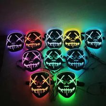 Halloween Neon Led <span class=keywords><strong>Masker</strong></span> Party Kostuum Purge Maskers Enge <span class=keywords><strong>Horror</strong></span> <span class=keywords><strong>Masker</strong></span> Cosplay Kostuum Led Dj Party Light Up Mascara Glow