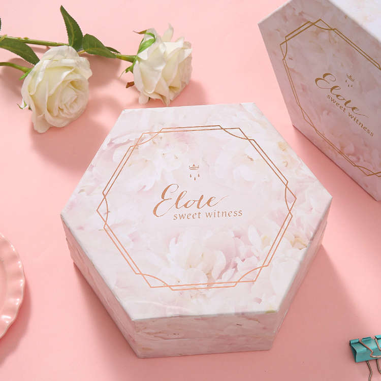 Factory direct supply custom made bouquet flower lip gloss empty hexagon hat boxes with lid