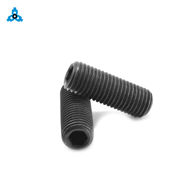 China Supplier Stainless Steel Black No Head Allen Hex Hexagon Socket Set Screw With Flat Cone Ball Oval Dog Cap Point DIN