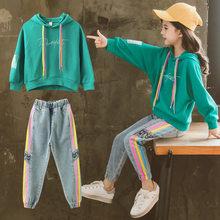 Комплект детской одежды, толстовка с капюшоном, джинсы, детский спортивный костюм, весна 2020, костюм для девочек, детские спортивные костюмы ...(Китай)