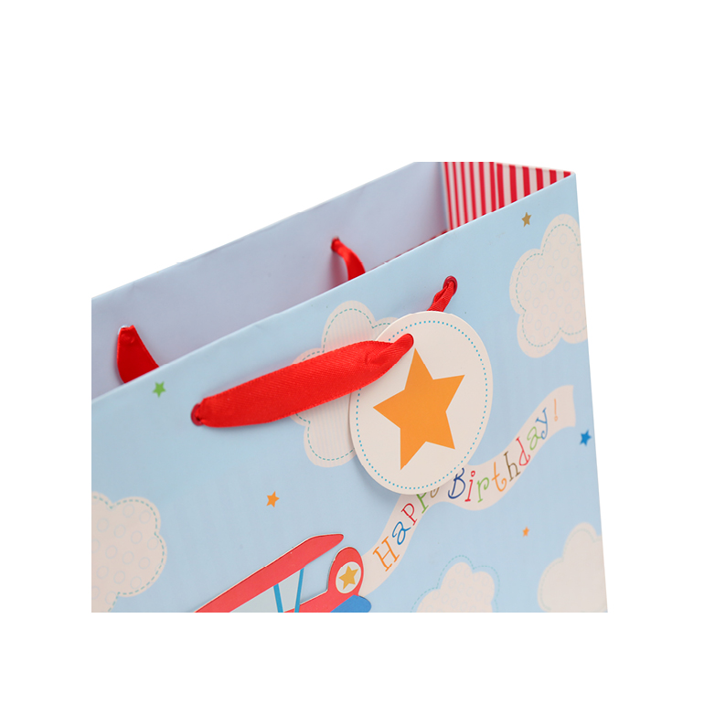 China Manufacturer Happy Birthday Banner Paper Bags, High Quality Sky Blue Shopping Gift Bags