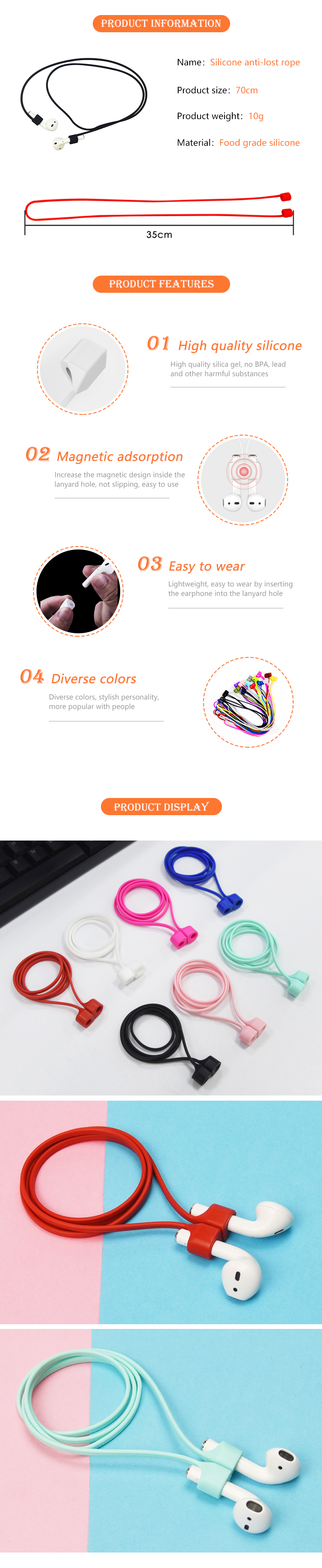Custom Colorful Silicone Magnetic Loop Strap Anti-Lost Rope for Wireless Earphones