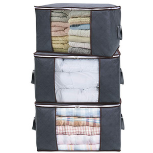 Large Capacity Clothes Storage Bag Organizer with Reinforced Handle Thick Fabric for Comforters Blankets Bedding Foldable Grey