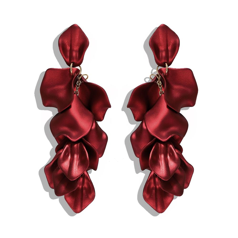 Barlaycs Fashion Designer Statement Vintage Unique Bridal Red <strong>Flower</strong> Tassel Drop Dangle <strong>Earrings</strong> for Women Jewelry