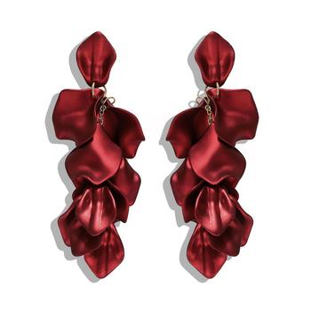 Barlaycs Fashion Designer Statement Vintage Unique Bridal Red Flower Tassel Drop Dangle Earrings for Women Jewelry