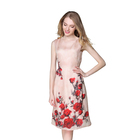 Latest western floral pattern 100% silk dresses pink slim sleeveless dress for women