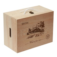 Custom 6 Bottles Wooden Wine Bottle Box with Handle