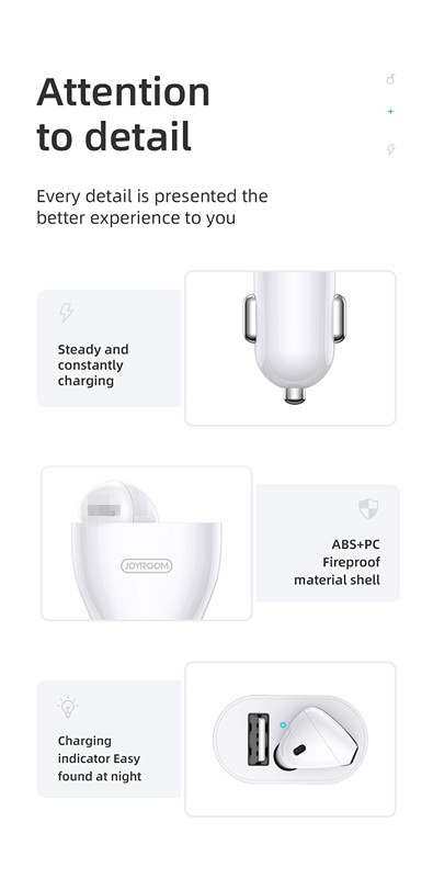 JOYROOM JR-CP1 2 in 1 car charger with 1:1 single wireless earphone v5.0 earbuds