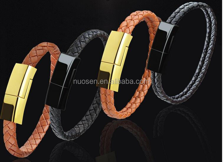 Hot Sell Unique Design Multi Function Leather Phone Charger Bracelet For iPhone Charger Bracelet USB