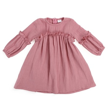 New design children clothes girls dress organic cotton checked Muslim kids frock designs