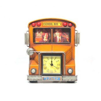 Retro School Bus Metal Photo Frame With Clock Wholesale Decorative London Bus Typewriter Piano Airplane Shape Clock Vintage