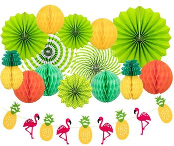 Summer Party Decoration Set Hanging Paper Fans Pineapple and Flamingo Flower Garland Banner for Hawaiian Luau Beach Birthday