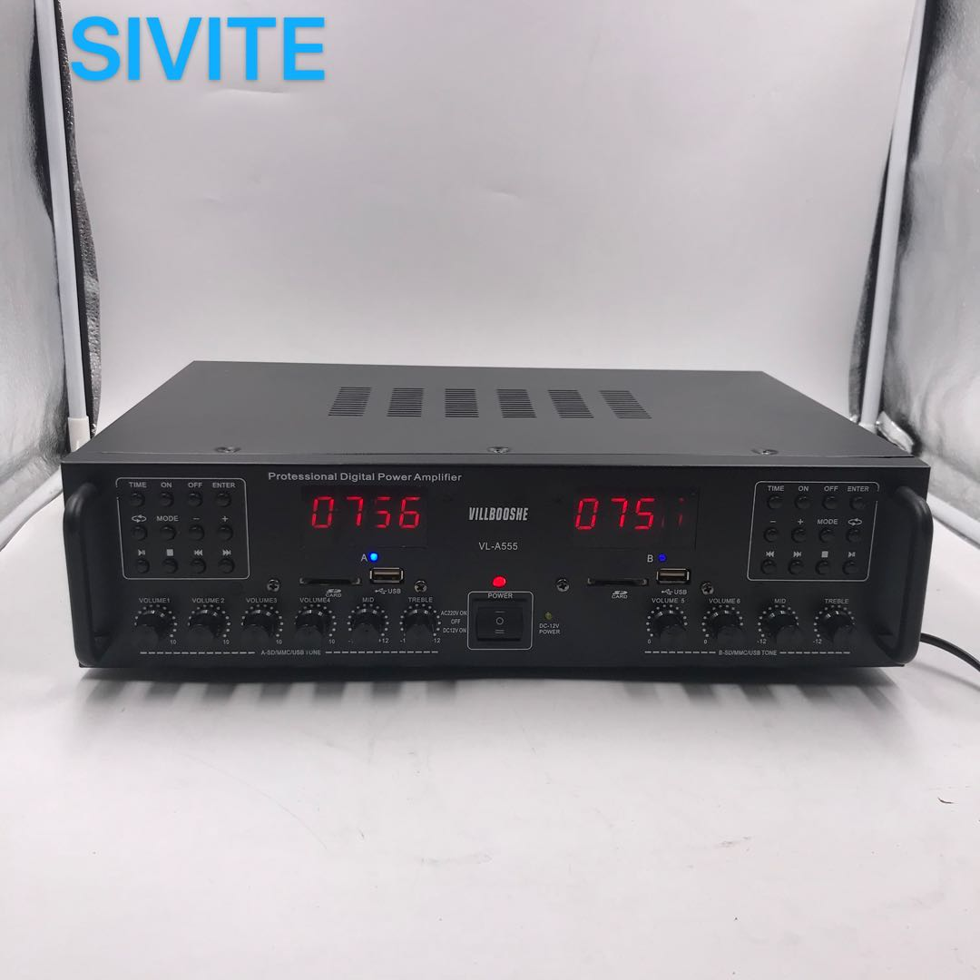 Sivite Digital Amplifier DC12V 220V Karaoke Input Amp Mini AMY-801