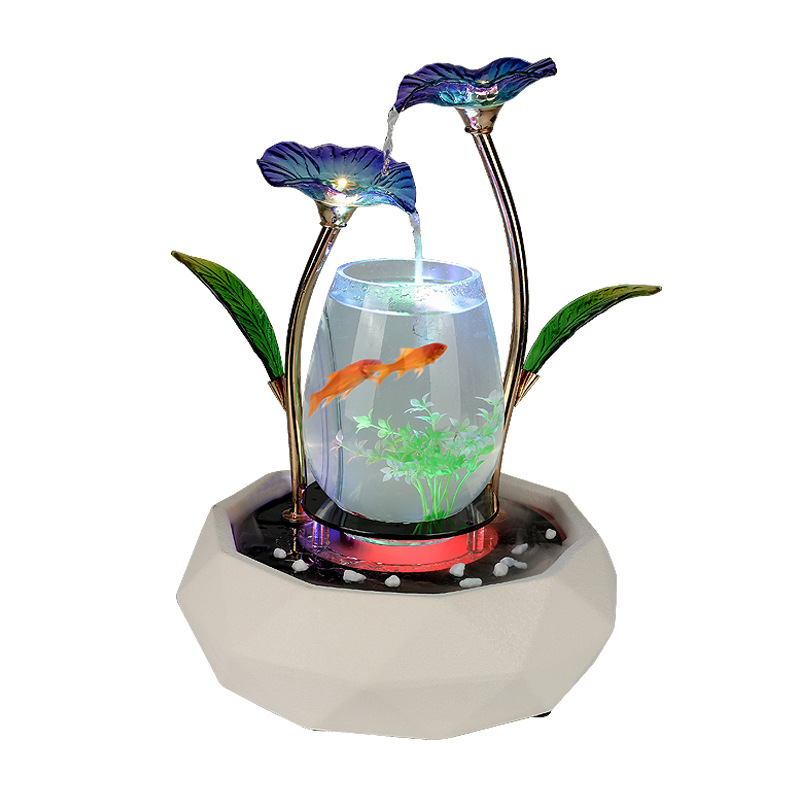 Home Furnishing Decoration Living Room TV Cabinet Creative Fish Tank Fountain Jewelry Ceramic Humidification European Gift Craft