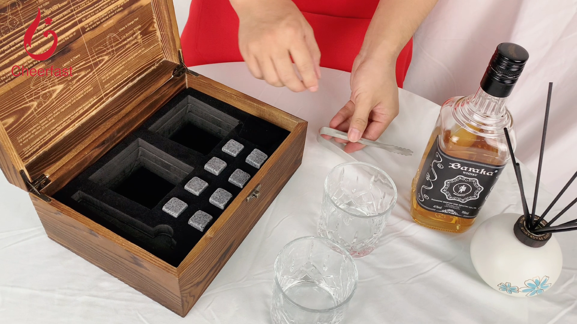 Sample order acceptable wooden box whiskey stones gift set with 8 glasses cooling stone