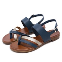 Fashion Summer Back Buckle Strap Flat Heel Fancy Ladies Sandals and Shoes