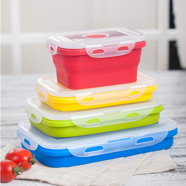 4 Pack Kids School Collapsible Food Meal Prep Lunchbox Containers Foldable Tiffin Bento Silicone Storage Bins Lunch Boxes Set
