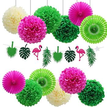 Hawaiian Party Decorations Tropical Jungle Beach Safari Party Supplies Theme with Flamingo Green Palm Leaf Banner with Pom Poms