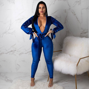 Solid Deep V Backless Long Sleeve Jumpsuit Jumpsuits Women Jumpsuit 2019