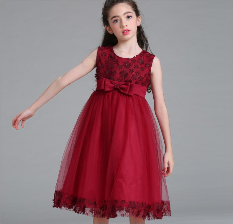 Girl flower princess dress with sequins for child wedding dress