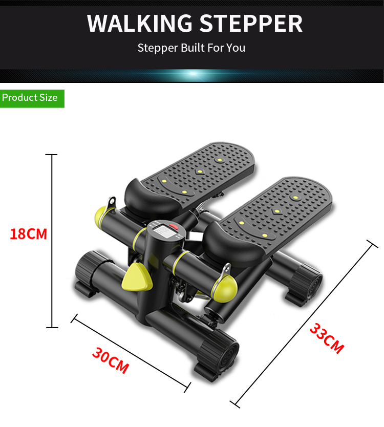 Home Use Hydraulic Aerobic Lateral Swing Fitness Mini Stepper With Resistance Bands