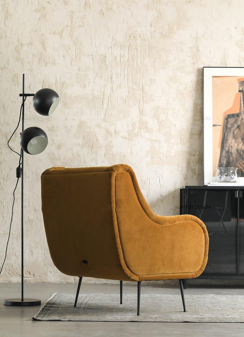 Light luxury simple fashion villa living room lounge chair velvet art fabric single leisure sofa chair