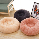 Fluffy pet bed round faux fur for medium small dogs or cats self warming indoor pillow cuddler
