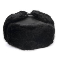 High Quality New 2019 Winter Warm Ushanka Russian Unisex Black Leather Cap Faux Fur Earflap bomber Trapper hat Men