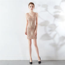 Мини платья для выпускного вечера DX294 It's Yiiya, без рукавов, с блестками, однотонное платье, женские вечерние платья на бретелях с v-образным выр...(Китай)