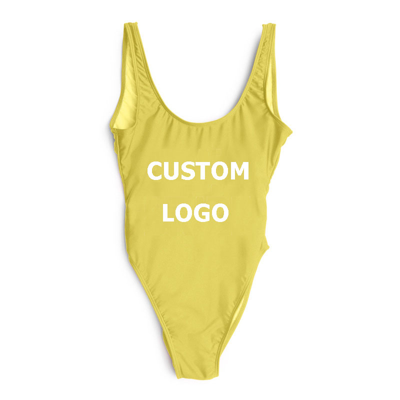 Custom LOGO Sexy Blank Classic Multiple Colors Women Bathing Backless One Piece Swimsuit