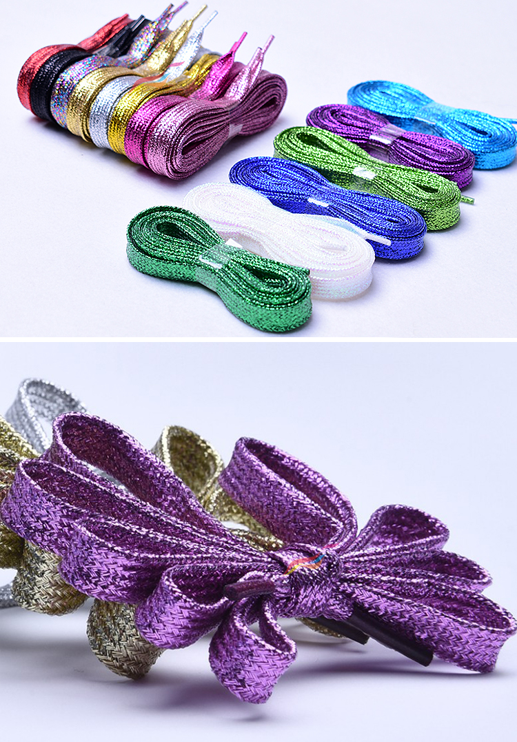 43 Inches 110cm Flat Metallic Yarns Silver Glitter Shoelaces for Sneaker