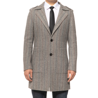 Hot Sale Business Winter 80% Wool Long Coats Men Striped Wool Overcoat
