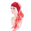 Factory Direct Sale Women Printing Long Hair Head Scarf Cancer Hats Headwear Chiffon Turban Headwrap TJM-310