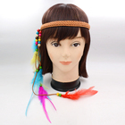 Wholesale New Feather Adjustable Beaded Headband Feather Indian Hachimaki Headband Hair Headdress accessories For Girls