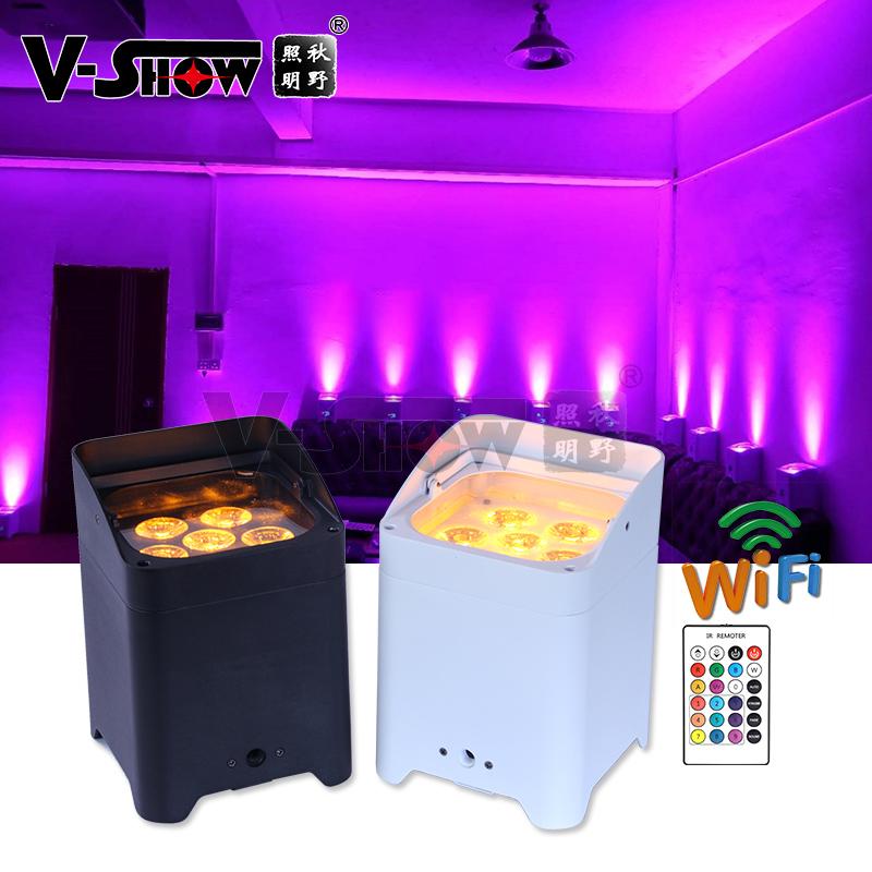 6pcs with case 6x18w RGBWA UV battery powered led par light wifi dmx wireless control led uplights DJ Lighting
