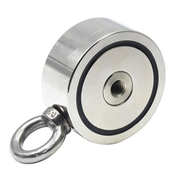 PMR- D75 Super strong double side ring neodymium fishing magnet with eyebolt