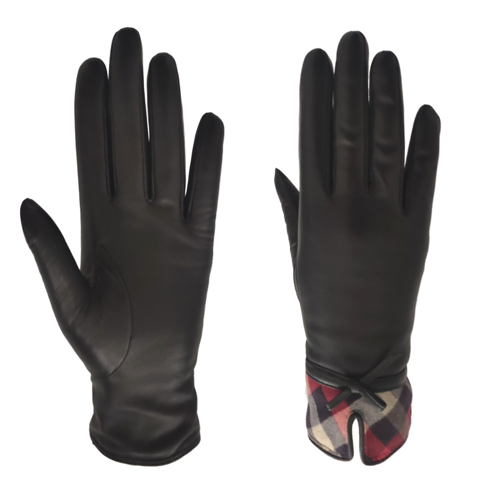 Factory Custom Elegant Touch Screen Sheepskin Winter Women Classic Bow Leather Gloves