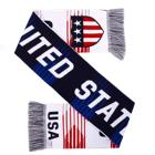 Factory Custom OEM low MOQ Jacquard Acrylic Knitted USA Soccer Scarf Football Club Fans Cheering Scarf for Football Events