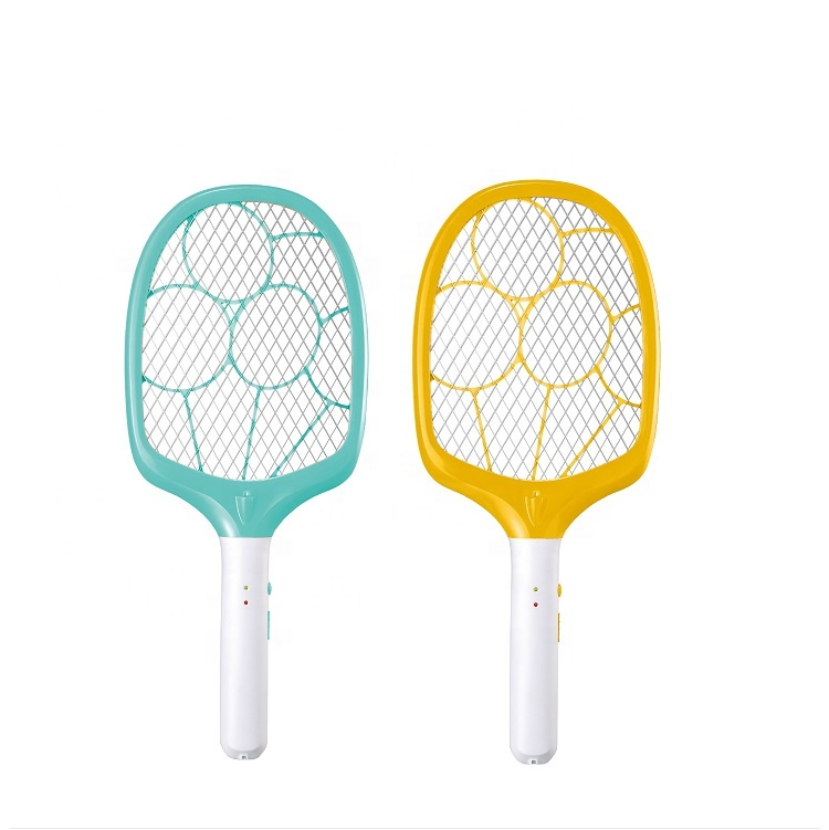KKmoon Raqueta El/éctrico Mosquito Zapper Raqueta el/éctrica rechargeable Raqueta de tenis Malla de mano de 3 capas Bug Zapper para control de plagas en interiores y exteriores percha + Stander